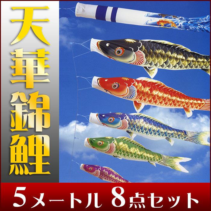 【送料無料】天泳ぐ華やかな鯉のぼり☆天華錦鯉 5M 8点セット【こいのぼり】