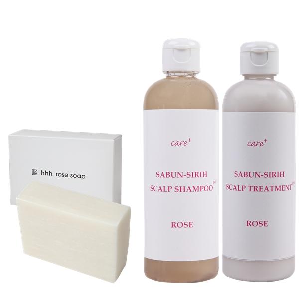 【care+】乾燥性敏感肌のためのオーガニックコスメ・バスタイム3点セット(シャンプー、トリートメント、ソープ/送料無料)今だけ泡立てネットプレゼント