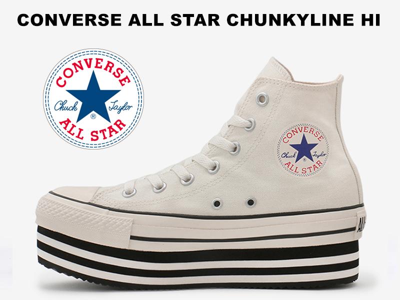 コンバース オールスター チャンキーライン ハイカット ホワイトCONVERSE ALL STAR CHUNKYLINE HI WHITE レディース スニーカー 白 厚底