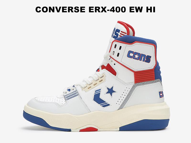 【残り23.5 24.5センチ】コンバース エナジーウェーブ CONVERSE シェブロンスター ERX-400 EW HI ホワイト/ネイビー/レッド レディース メンズ ダッド スニーカー バッシュ 白/紺/赤