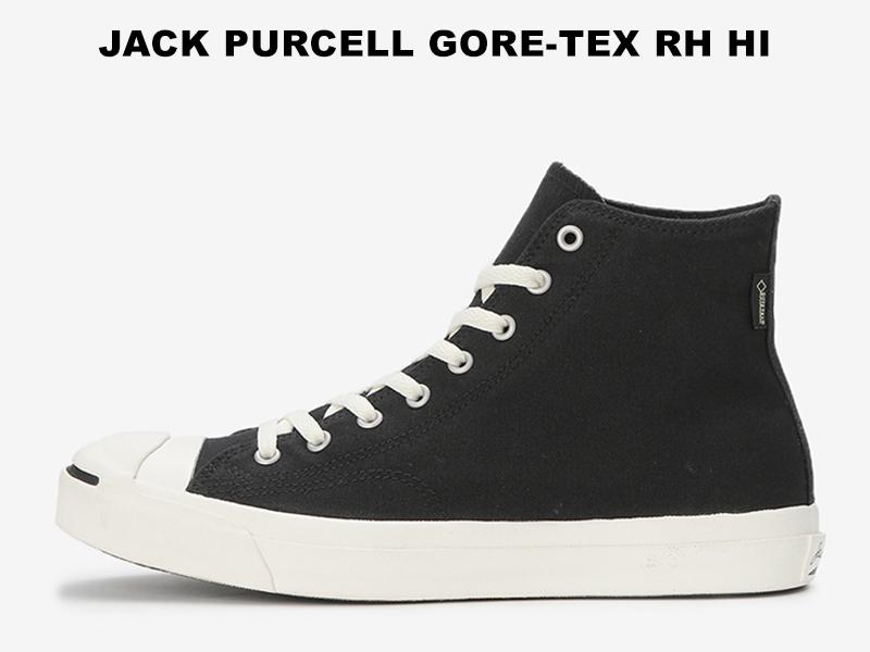 コンバース ジャックパーセル ゴアテックス ハイカット ブラック CONVERSE JACK PURCELL GORE-TEX RH HI BLACK レディース メンズ スニーカー 黒 防水 レインシューズ ブーツ 限定