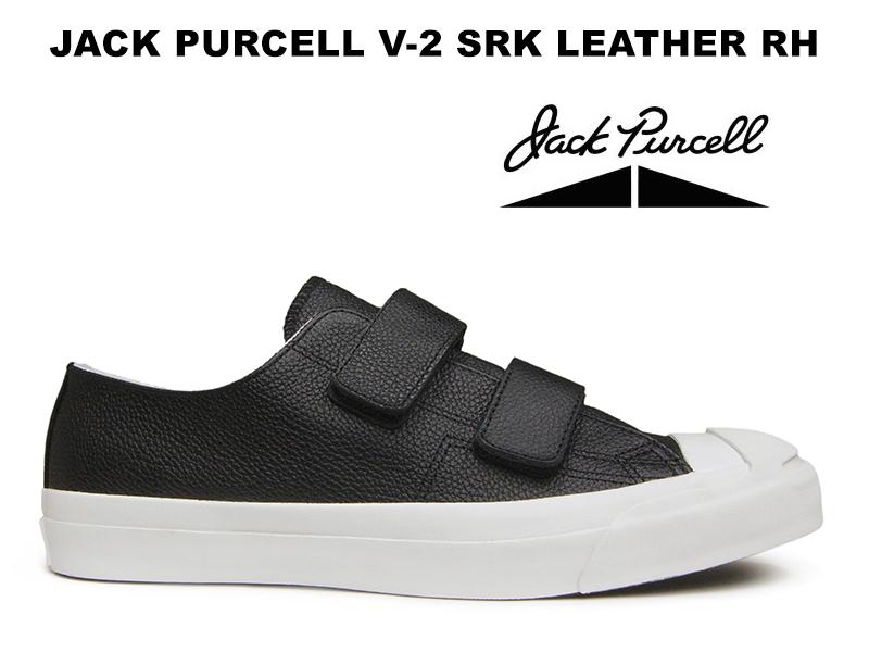 コンバース ジャックパーセル V-2 シュリンク レザー ベルクロ RH ブラック CONVERSE JACK PURCELL V-2 SRK LEATHER BLACK レディース メンズ スニーカー 黒 限定