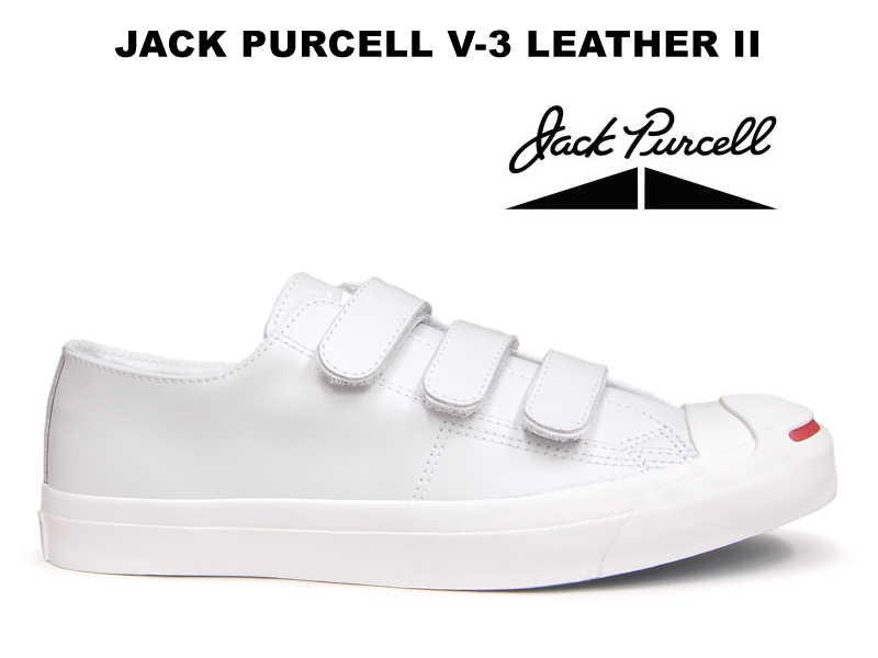 Converse Jack Pursel leather Velcro CONVERSE JACK PURCELL V-3 LEATHER II white  white red smile sneakers Lady s men low-frequency cut-limited e531e854a