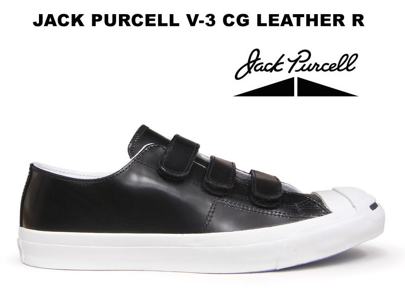 【10%OFF】コンバース ジャックパーセル V-3 CG レザー CONVERSE JACK PURCELL V-3 CG LEATHER R ベルクロ ブラック スニーカー レディース メンズ 黒