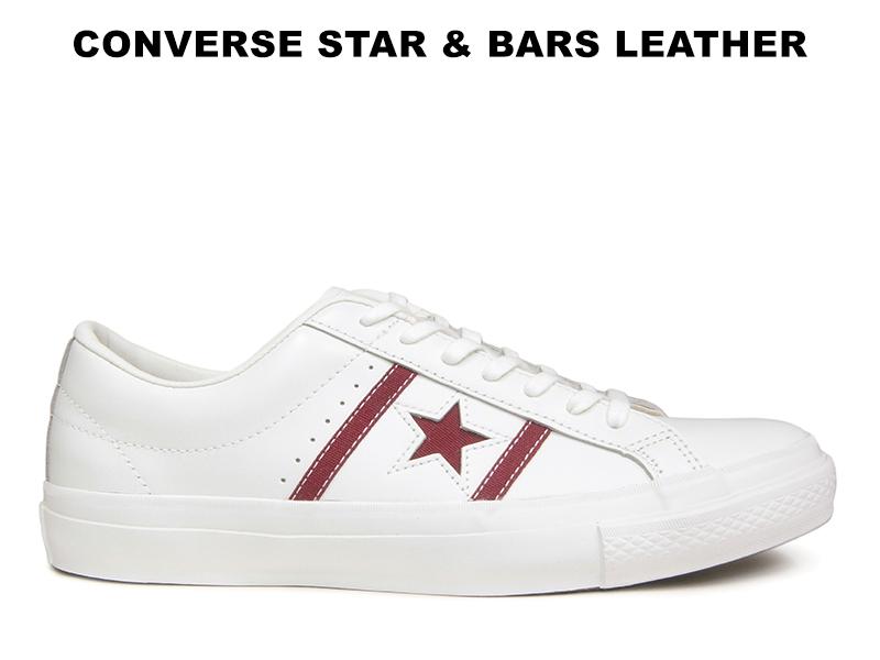 CONVERSE STAR&BARS LEATHER コンバース スター&バーズ レザー ホワイト/マルーン レディース メンズ ワンスター
