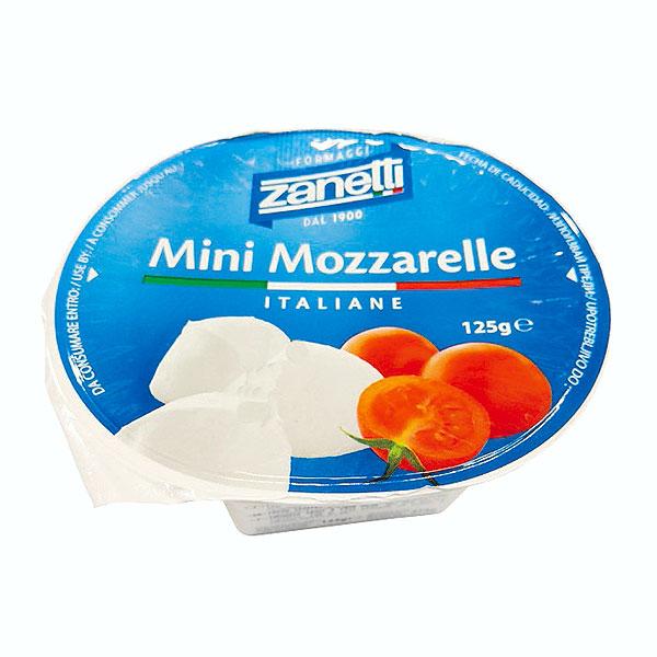 ほんのりとした甘さで中は柔らかい弾力が特徴 ザネッティ ミニモツァレラ 【125g】【フレッシュチーズ】【モッツァレラチーズ】【冷蔵のみ】【D+2】