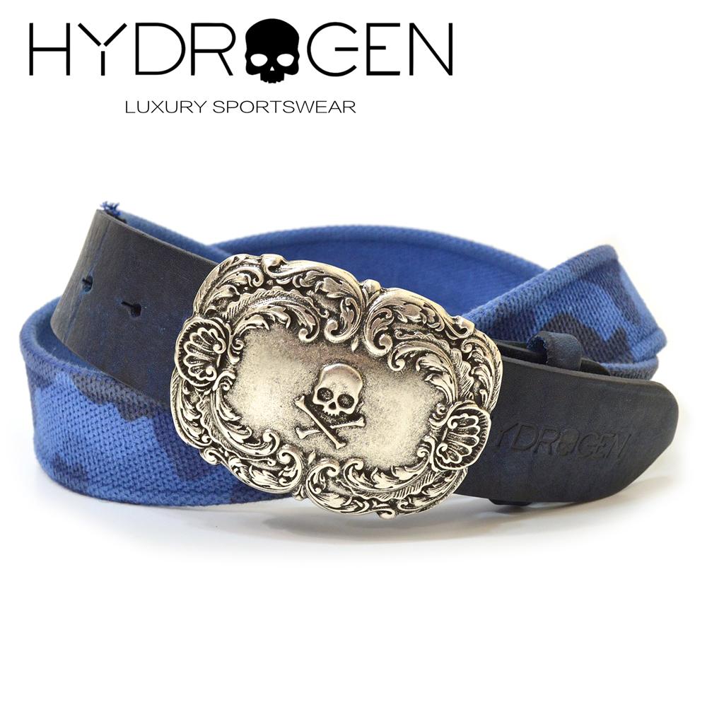 HYDROGEN ハイドロゲン 1537295:BLUE 新品 メンズ レザー サイズ調節可能 1着でも送料無料 キャンパスベルト ehd16s005 1537295:ブルー カモフラ迷彩