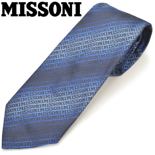 ネクタイ ギフト プレゼント ブランド MISSONI ミッソーニ 7040-0001 BLUE メンズ ブルー 選択 市場 ロゴストライプ柄シルク サイズ剣幅8cm emn19w001