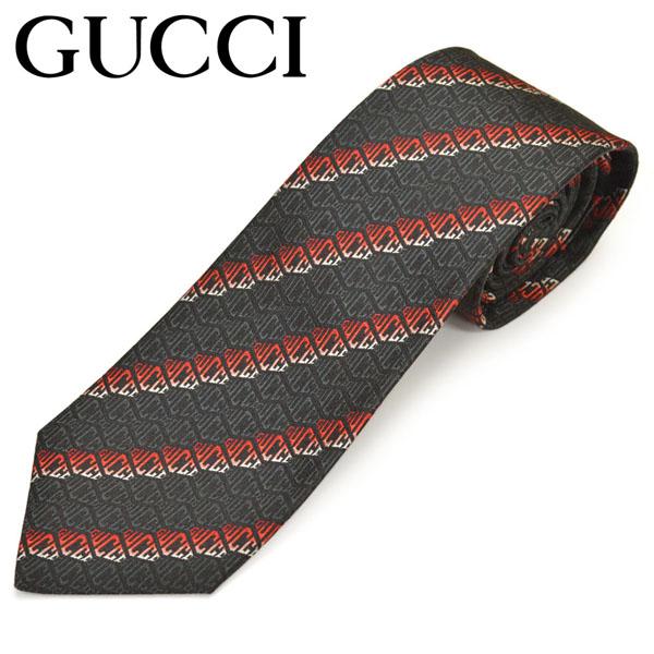 ネクタイ ギフト プレゼント ブランド GUCCI グッチ 人気の製品 571808-1074 BLACK 超人気 メンズ シルク ブラックグレッド egc19w011 RED ロゴストライプ柄 サイズ剣幅7cm ナロータイ