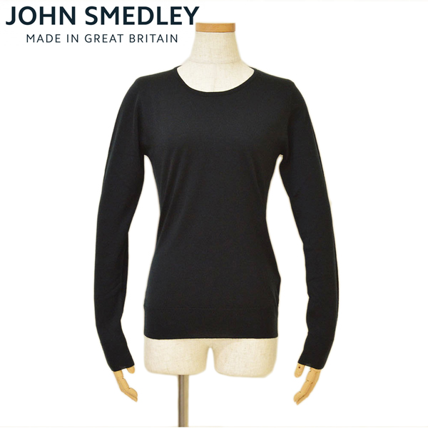JOHN SMEDLEY ジョンスメドレー 20JM16A6:BLACK レディース クルーネック長袖ニットセーター 日本産 特別セール品 GERANIUM SLIM M L FIT S ejd16w508 サイズ 20JM16A6:ブラック