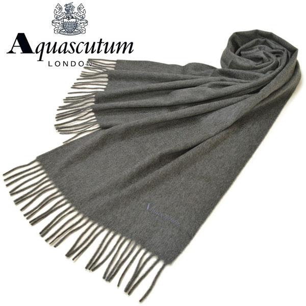 マフラー アクアスキュータム Aquascutum ストール メンズ/レディース カシミヤ サイズ180cm×37cm 中判 eam17w101 AQS80/1:チャコールグレー