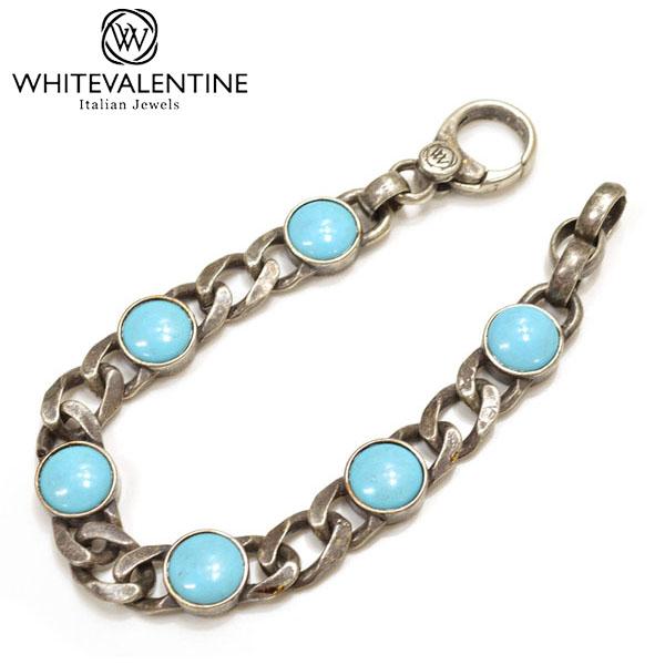 WHITE VALENTINE ホワイトバレンタイン メンズ/レディース ターコイズチェーンブレスレット サイズ/F/ wb023 OTBR 10007 T:ブルー