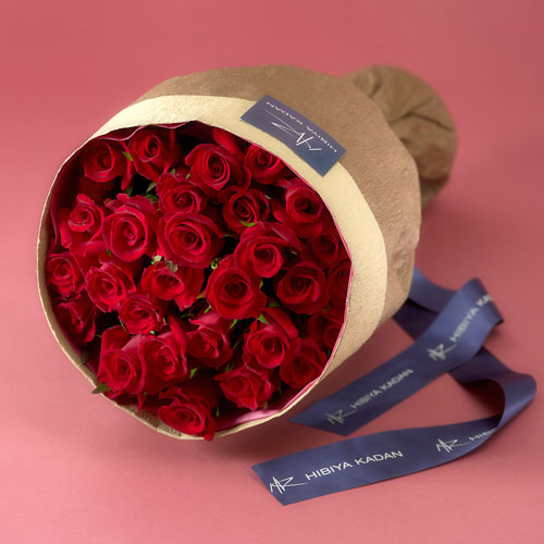 【日比谷花壇】30本の赤バラの花束「アニバーサリーローズ」【ネット限定】 ギフト プレゼント 誕生日 記念日