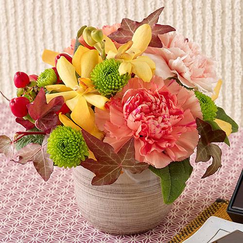 【日比谷花壇】お花のスイーツセット  和菓子 とらや「小形羊羹(ようかん)5本入」とアレンジメント ギフト プレゼント 誕生日 記念日