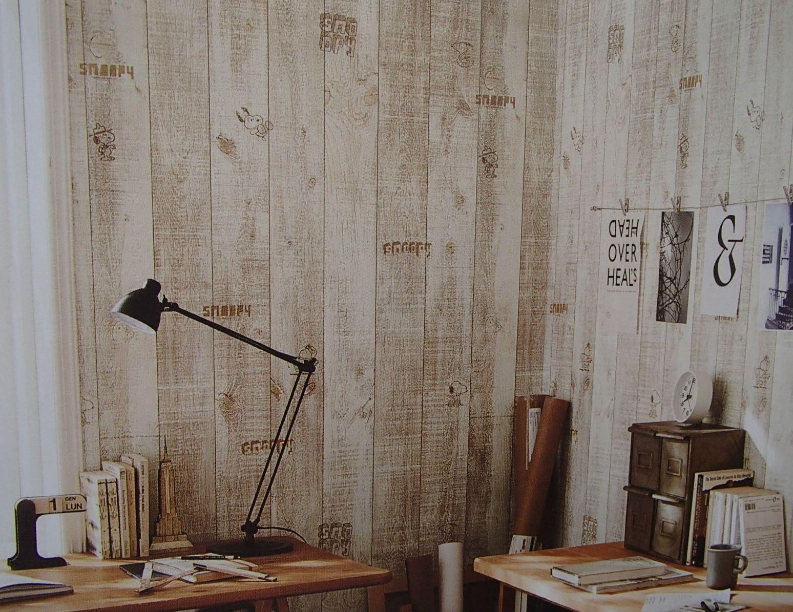 楽天市場 スヌーピー ヴィンテージ木目調 のり付き壁紙 壁紙屋ヒッキー