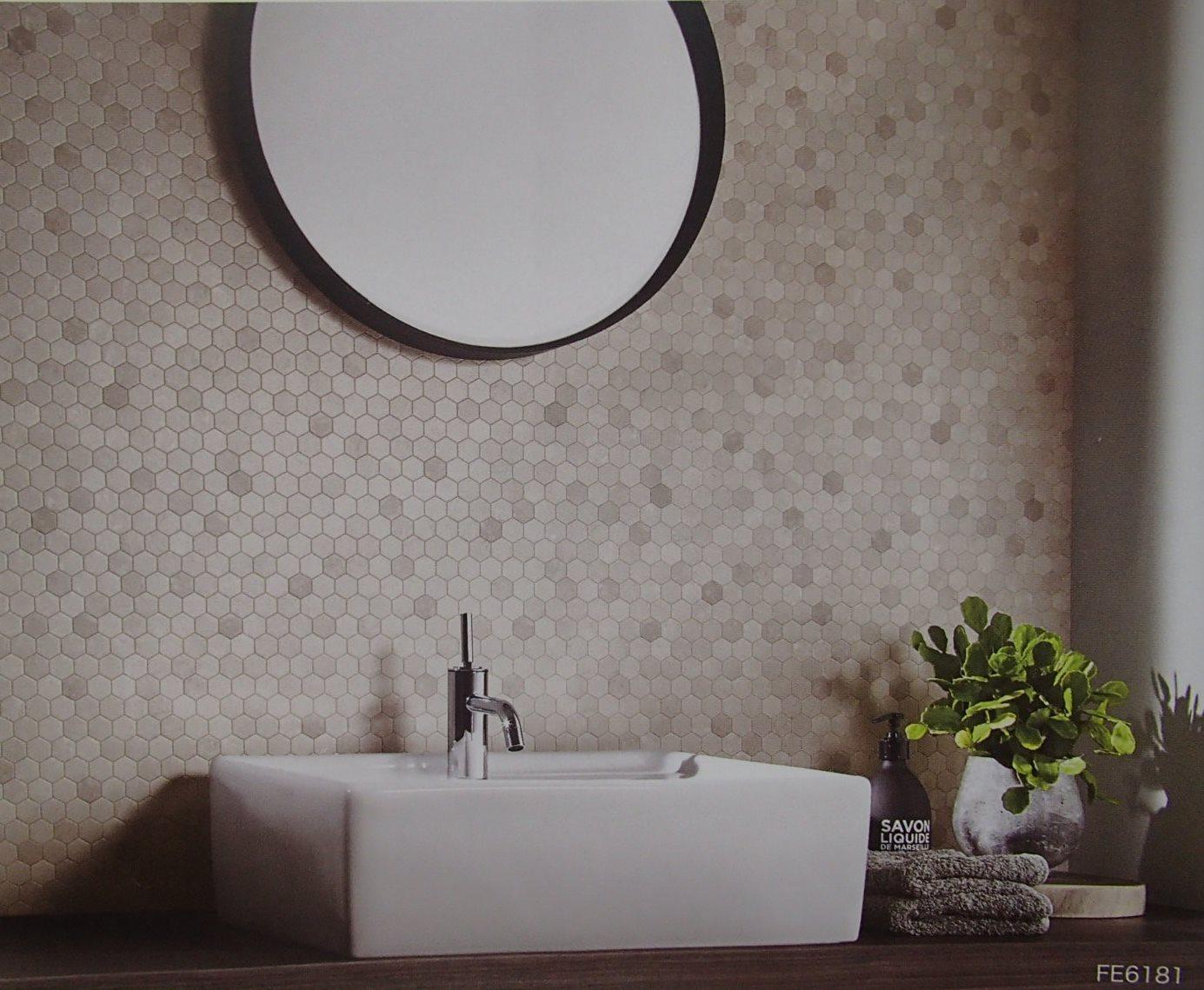 サンゲツ ファインfe 6181のりつき 壁紙 クロス タイル柄 グレー系 水まわり 灰色系