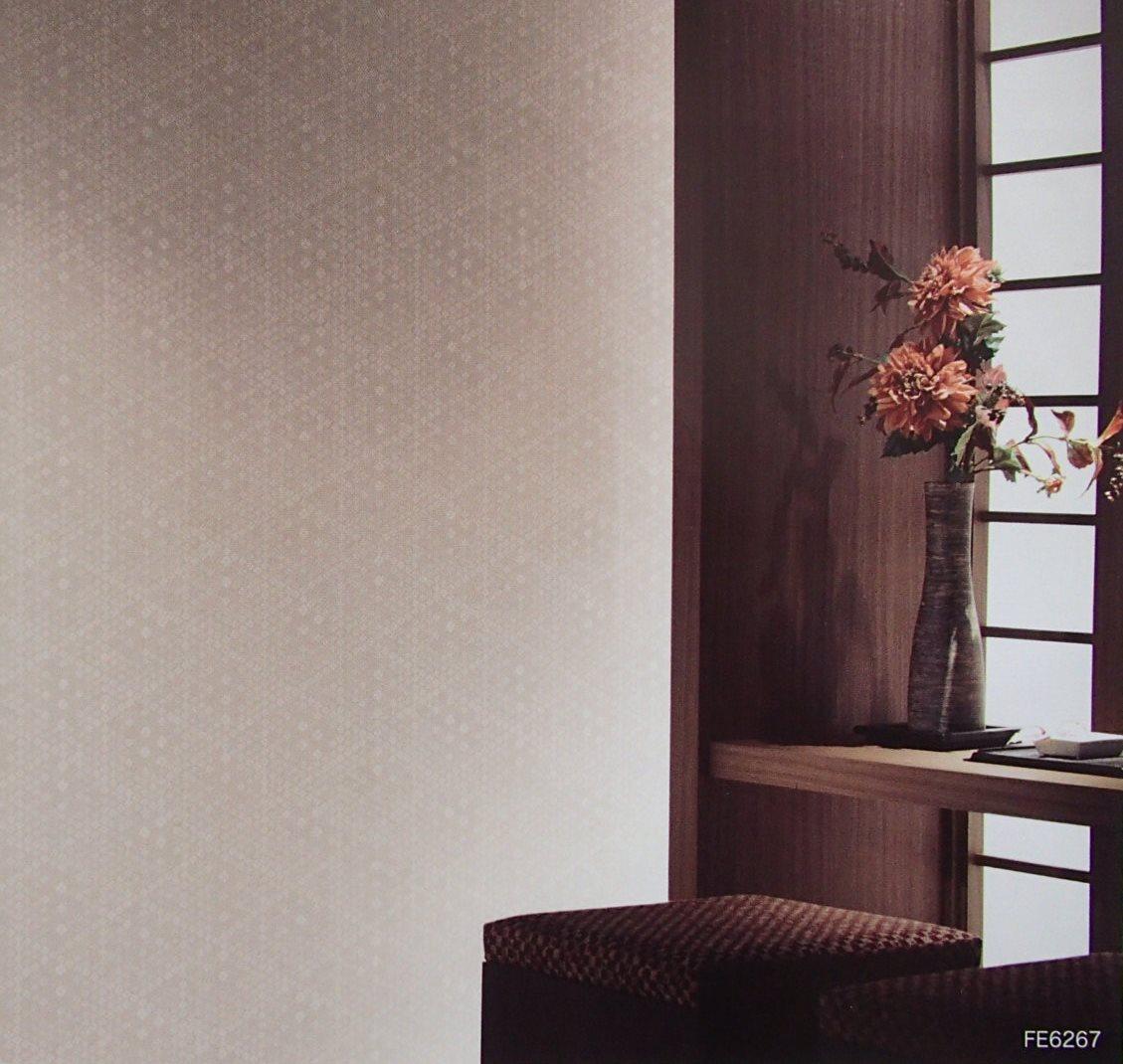サンゲツ ブランド品 ファインfe 6267のりつき 壁紙 クロス 和柄 和風 和室 茶系 和モダン ブラウン系 のり付き壁紙 1m単位切り売り リフォーム 花菱文様 模様替え Diy