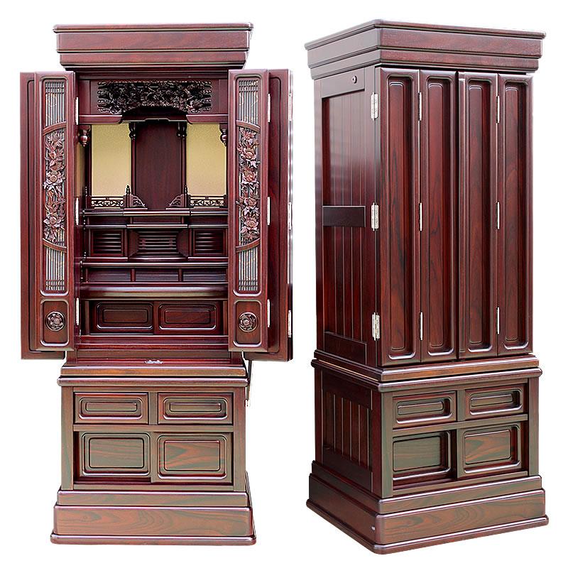 唐木仏壇・円雅 天然木材【三方練】 47-16号【仏壇】紫檀(ソノケリン)を使い三方練仕上げの高級仏壇。本体内部の背板のツートンカラー仕様のデザイン性の高さも人気の秘訣です