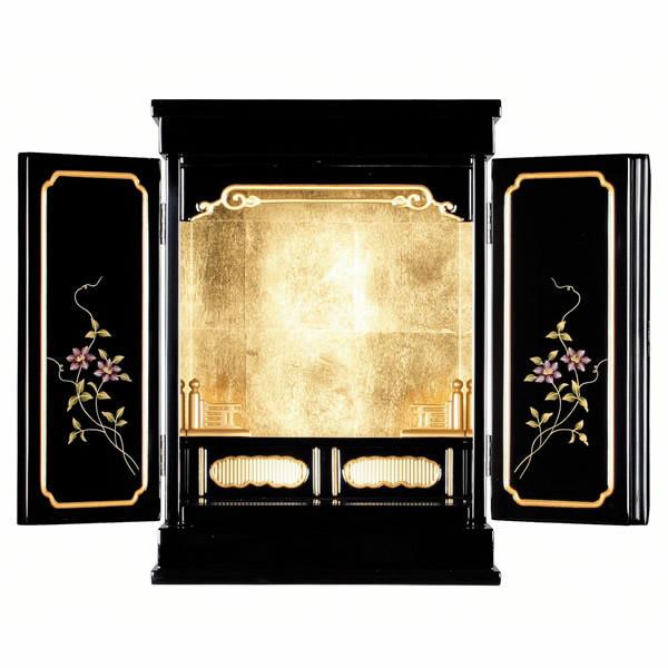 金仏壇・蒔絵入り鉄仙 14号【仏壇】【浄土真宗仏壇】モダン風な小型の金仏壇です。扉に鉄仙の蒔絵が施されコンパクトサイズながらも存在感ある造り