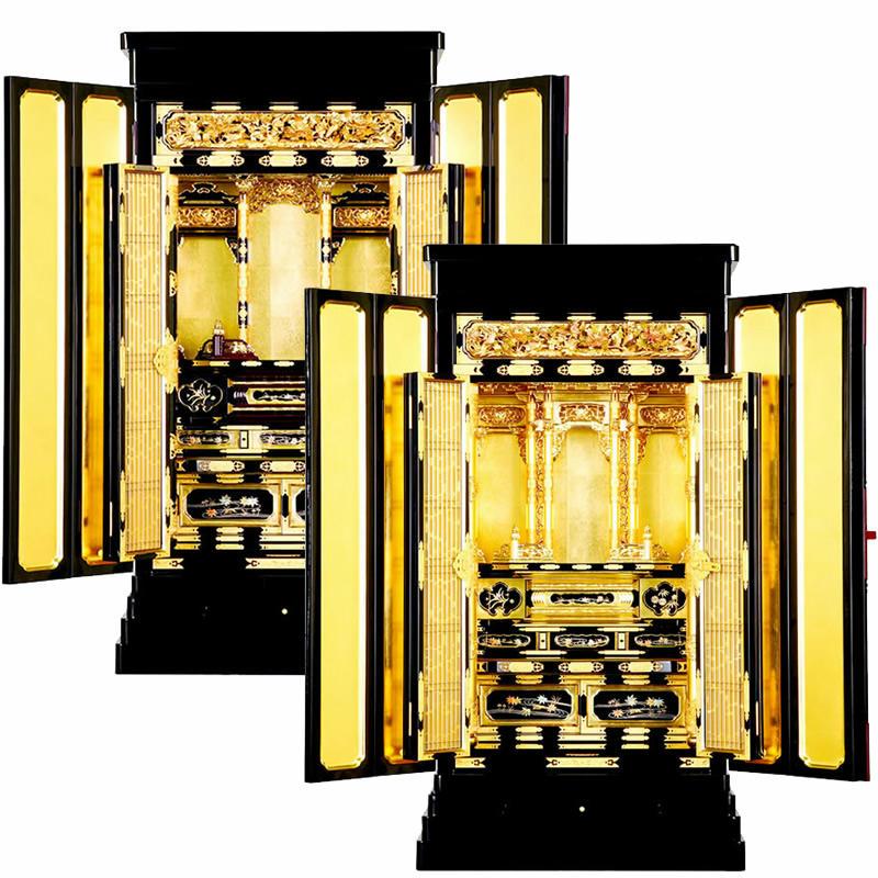 金仏壇・光樹 18×35号【仏壇】【浄土真宗仏壇】東本願寺・西本願寺用にそれぞれしっかり造られた本格金仏壇。サイズ展開が非常に豊富なシリーズで中段の移動が可能など機能に秀でた金仏壇