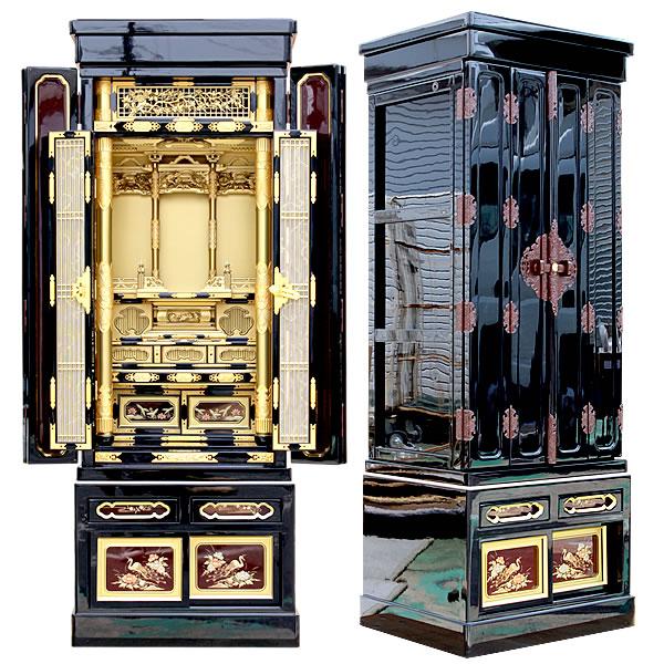 金仏壇・長寿 45-15号【仏壇】朱を上手に取り入れ、蒔絵も大きく描きデザインにも非常に手が施された金仏壇。華やかさと重厚感は随一な仕上がりとなっている金仏壇です。
