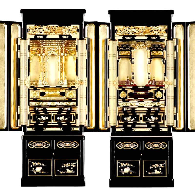 金仏壇・光明 43-15号【仏壇】【金仏壇】随所に蒔絵が施され本願寺派、大谷派の東西にしっかり合わせて造られた本格派も納得の金仏壇。43号サイズで仏間にも合わせやすくなっています。