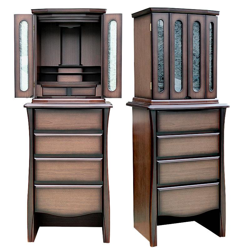 モダン仏壇・桃源 国産【モダン仏壇】アンティークな家具調デザインでガラス扉が非常におしゃれでとにかくデザインが秀逸な日本製のお仏壇。リビングに置きやすい仕上がりです。
