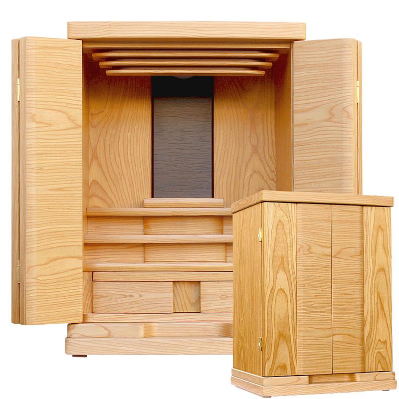 モダン仏壇・フローラ 16号【仏壇】【モダン仏壇】名前の通り優しい印象で木の温もりが感じられるお仏壇。背板のウォールナット色がスタイリッシュでもありどんな部屋にも合わせやすいお仏壇です
