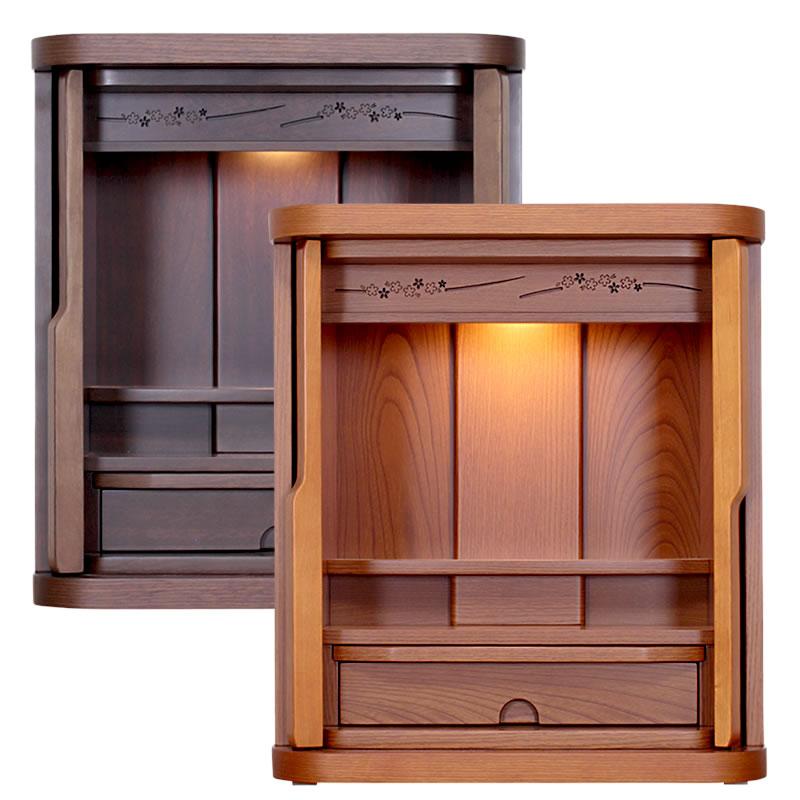 モダン仏壇・オルク 16号【仏壇】扉を内に収納できるコンパクトにまとまったお仏壇。扉を開いても閉じてもサイズが変わらないので置き場所に悩みません!欄間のワンポイント桜デザインが秀逸です。