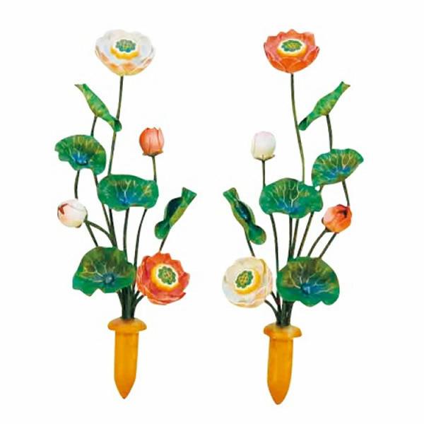 鮮やかな色味が特徴のアルミ製の極彩色常花 極彩色常花 1対 高さ12.0cm 年中無休 一部予約 3寸:花3本