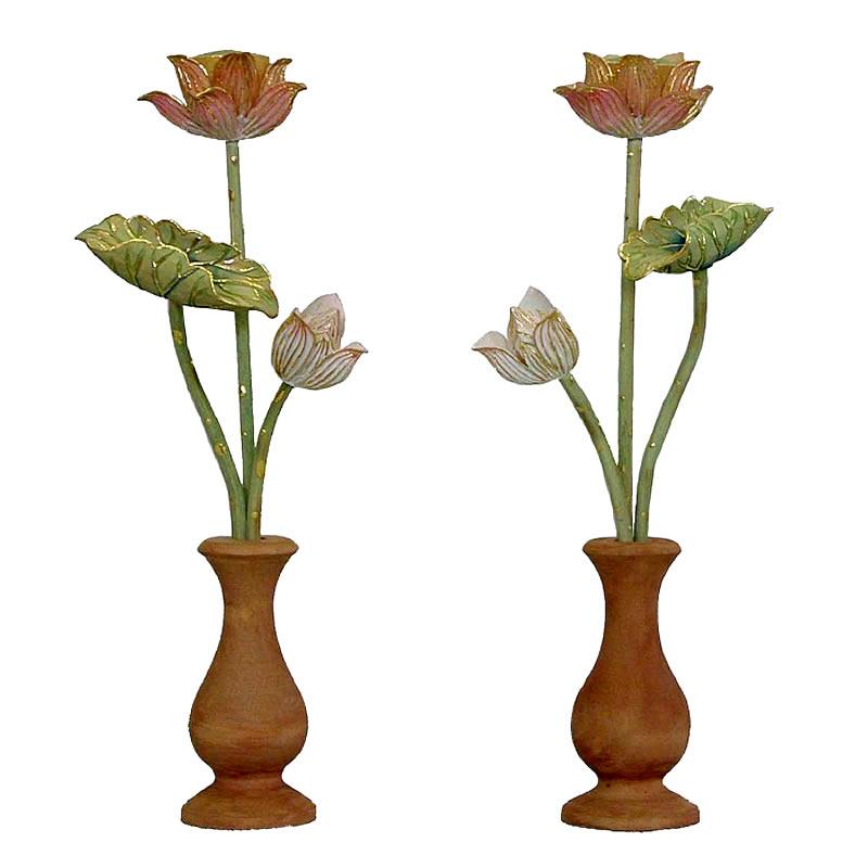 モダンな仏壇にピッタリのツゲ 切金淡彩色 常花 ツゲ 切金淡彩色 常花(1対) サイズ:小(高さ12.5cm)