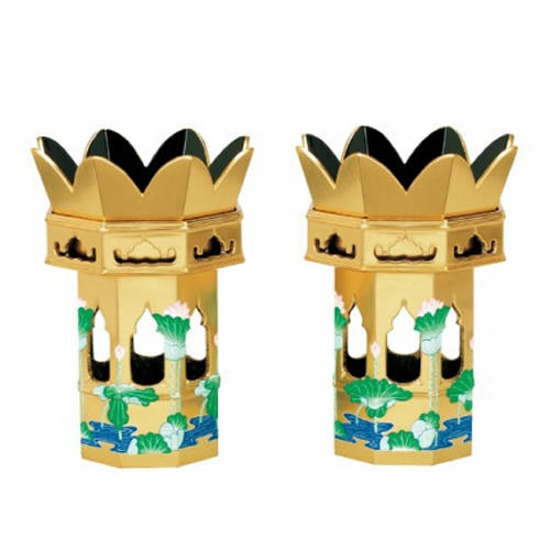 木製総金 八角供花 蓮水彩色入 1対【大谷派用】サイズ・2.0寸