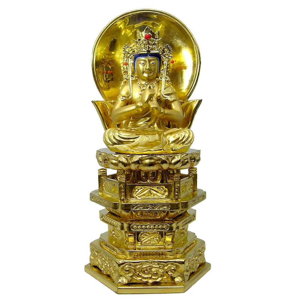 仏像・大日如来(純金中七 肌粉) 1.8寸(高さ:18.2cm)