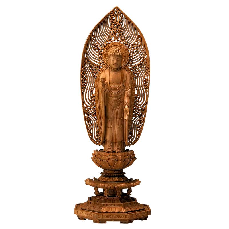 仏像・舟立弥陀(白檀 八角台座) 3.0寸(高さ:19.0cm)
