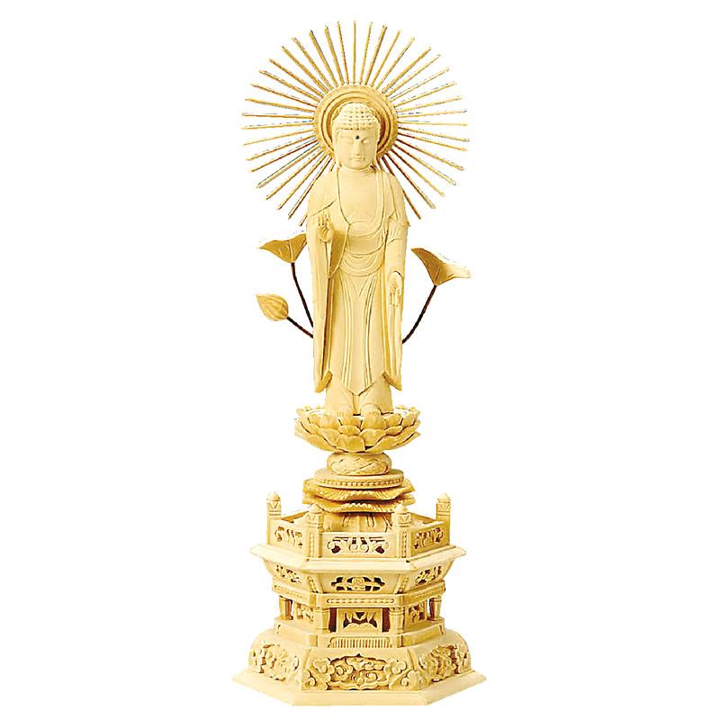 仏像・東立弥陀(総白木 六角台座) 3.0寸(高さ:22.8cm)