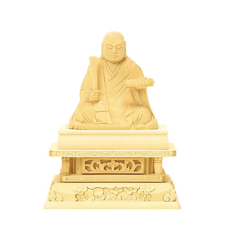 仏像・日蓮(総白木) 1.5寸(高さ:10.6cm)