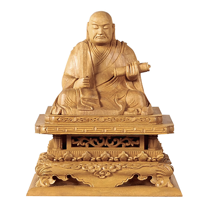 仏像・日蓮(白檀) 1.8寸(高さ:11.5cm)