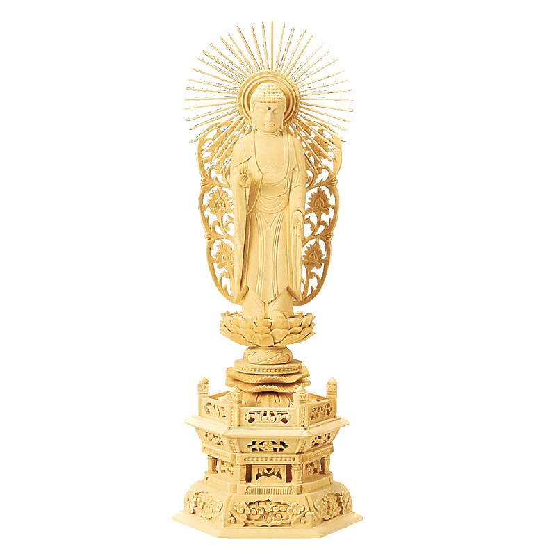 仏像・西立弥陀(総白木 六角台座) 3.0寸(高さ:22.8cm)