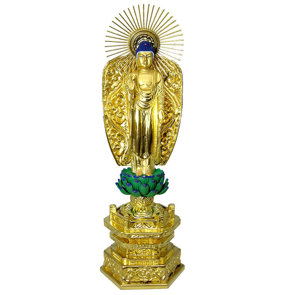 仏像・西立弥陀(純金中七 肌粉) 3.0寸(高さ:21.2cm)