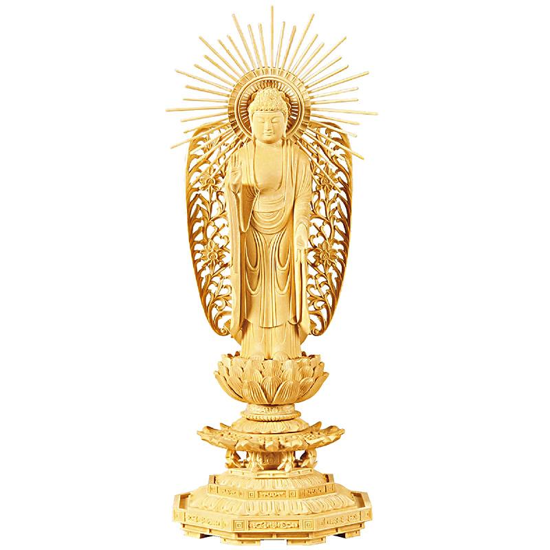 仏像・西立弥陀(拓殖 八角台座) 3.0寸(高さ:19.0cm)