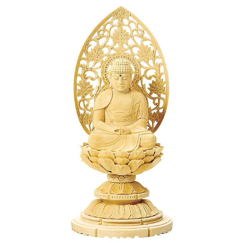 仏像・座弥陀(総白木 丸台座) 1.8寸(高さ:18.0cm)