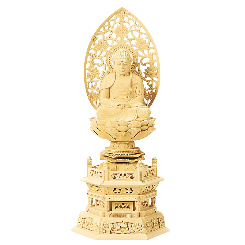 仏像・座弥陀(総白木 六角台座) 1.8寸(高さ:23.0cm)