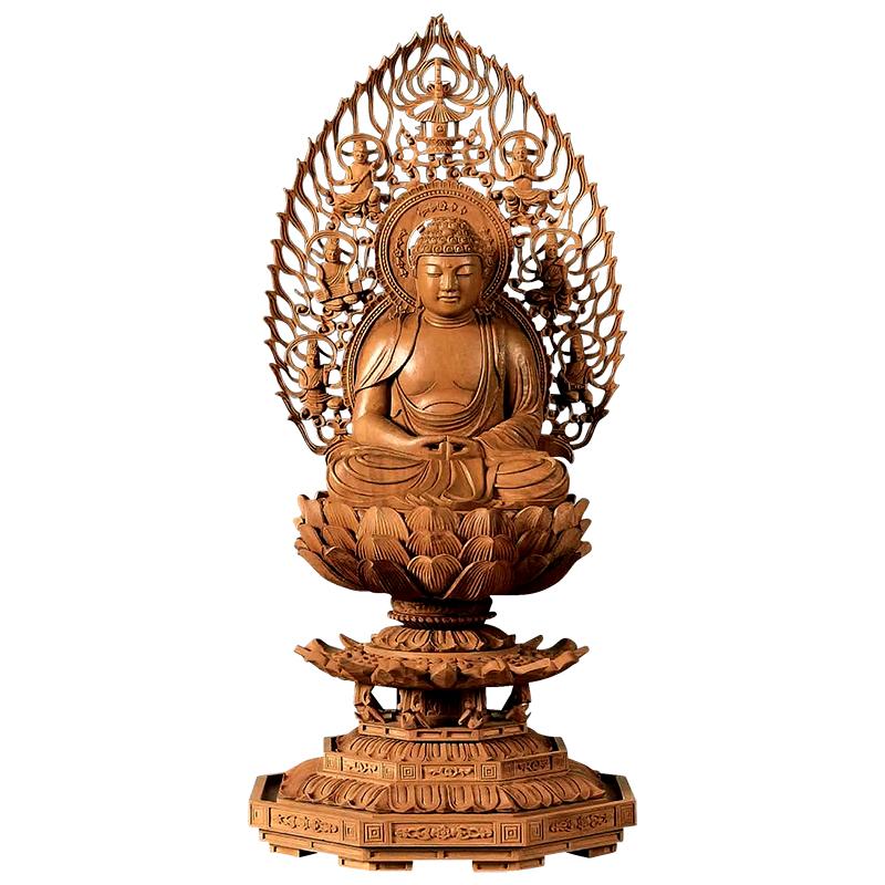 仏像・座弥陀(白檀 八角台座) 2.0寸(高さ:22.5cm)