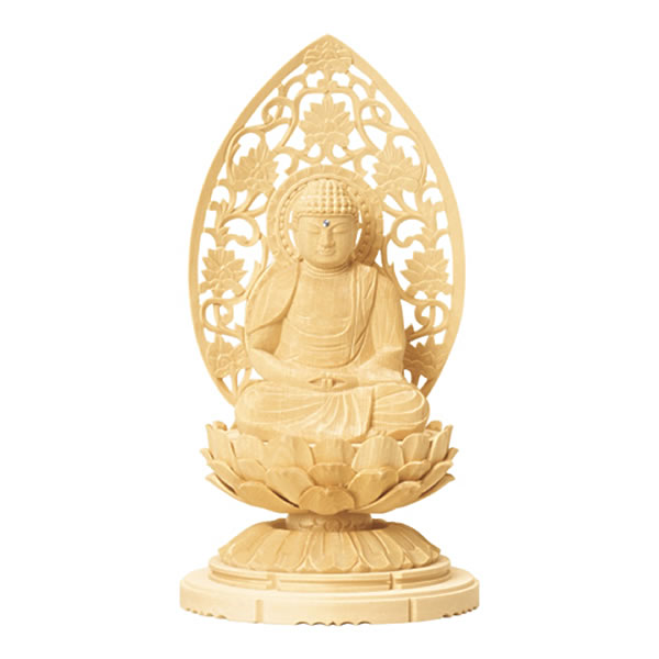 仏像・座弥陀(総白木 C型低丸台 唐草光背)1.5寸(高さ:13.5cm)