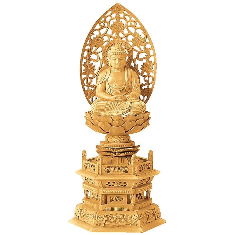 仏像・座弥陀(楠木地彫 六角台座 金泥書き)2.0寸(高さ:25.6cm)【仏具】高級木材の楠木を使い職人が仕上げた本格的な仏像