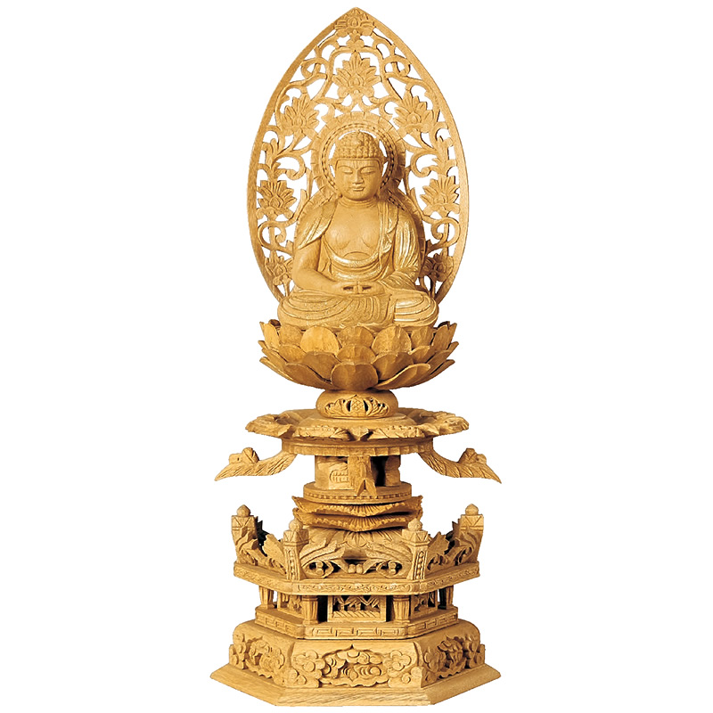 仏像・座弥陀(楠木地彫 六角台座 ケマン付 金泥書き)2.0寸(高さ:27.0cm)【仏具】高級木材の楠木を使い台座にケマンも付いた、職人が仕上げた本格的な高級仏像