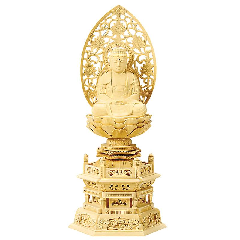 仏像・座釈迦(総白木 六角台座) 1.8寸(高さ:23.0cm)