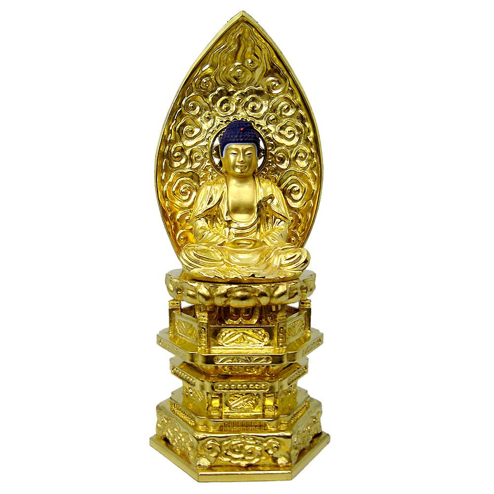 仏像・座釈迦(純金中七 肌粉) 1.8寸(高さ:18.1cm)
