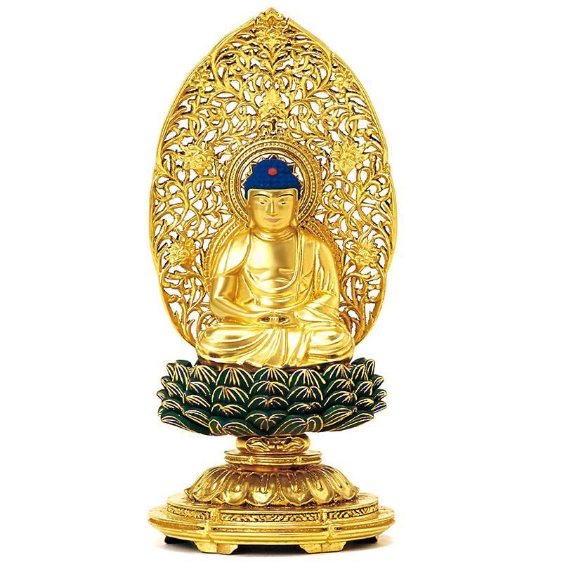 仏像・座釈迦(木製金箔 青蓮華 丸台座) 1.8寸(高さ:17.5cm)