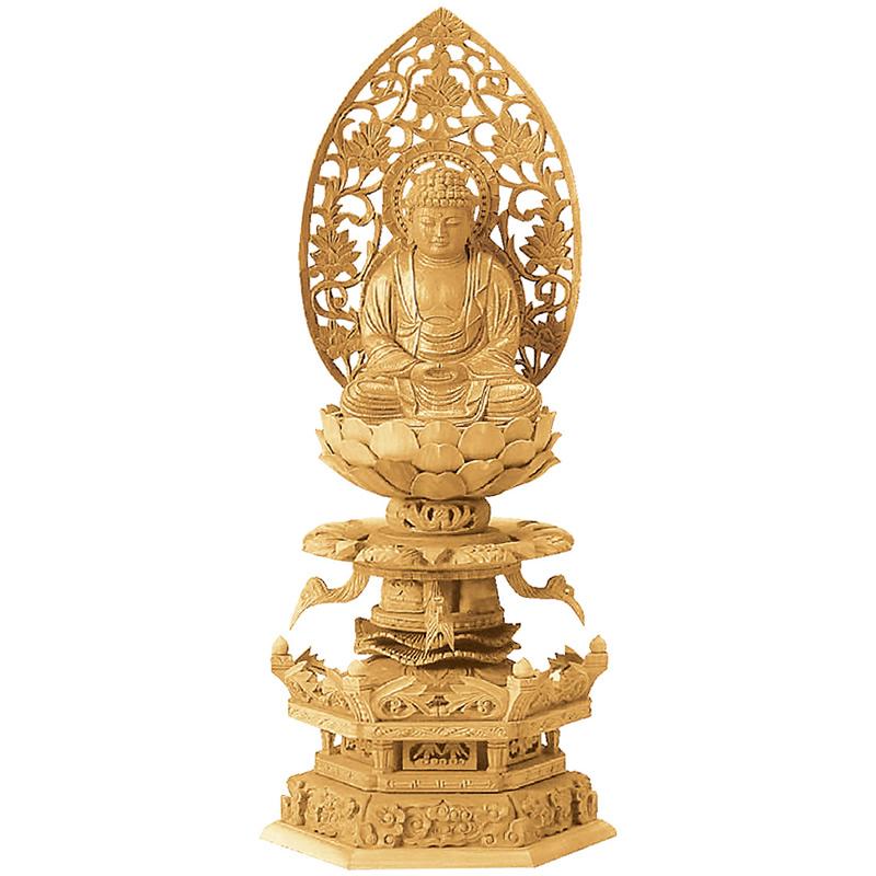 仏像・座釈迦 (楠木地彫 六角台座 ケマン付 金泥書き)2.0寸(高さ:27.0cm)【仏具】高級木材の楠木を使い台座にケマンも付いた、職人が仕上げた本格的な高級仏像